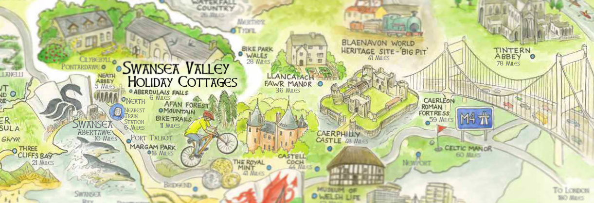 Hand drawn map of South Wales